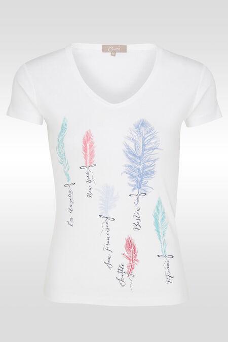 T-shirt en coton print plumes - Blanc