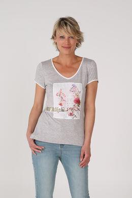 T-shirt imprimé et sequins, Gris Chine