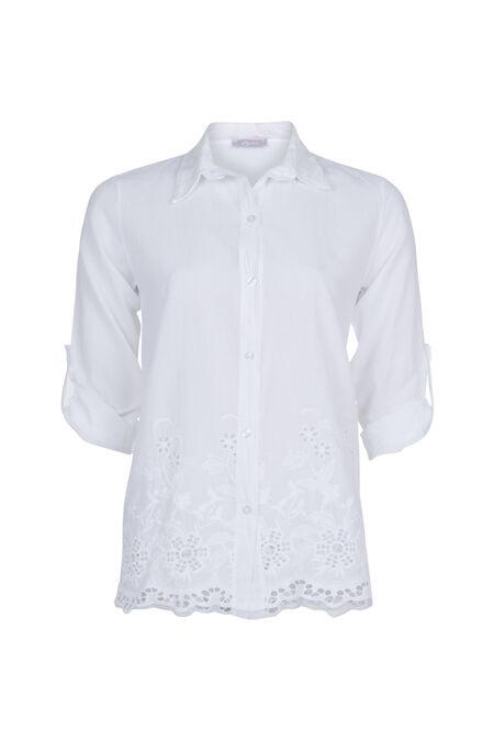 Hemd met Engels borduurwerk - Wit