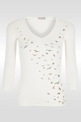 T-shirt print et paillette envolée oiseaux, Ecru