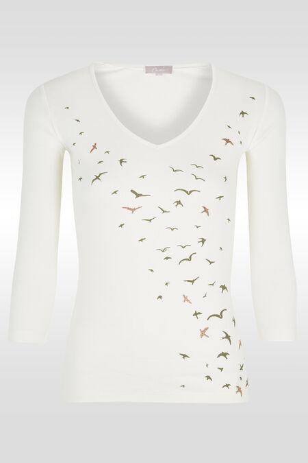 T-shirt print et paillette envolée oiseaux - Ecru