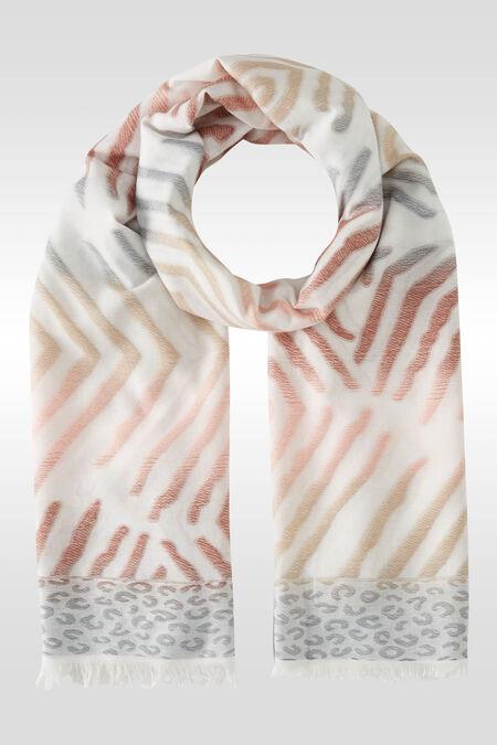 Foulard met zebra- en luipaardprint - Roze