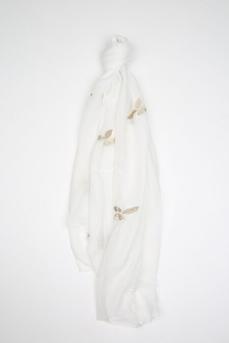 Effen foulard met geborduurde bladeren - Wit
