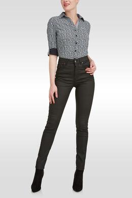 Pantalon enduit push up taille haute, Noir