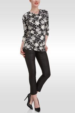 T-shirt soepel bloementricot, watervalkraag, Zwart/Ecru