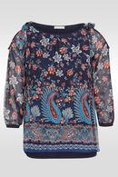 Tuniek in voile met bloemetjes- en kasjmierprint, Marineblauw
