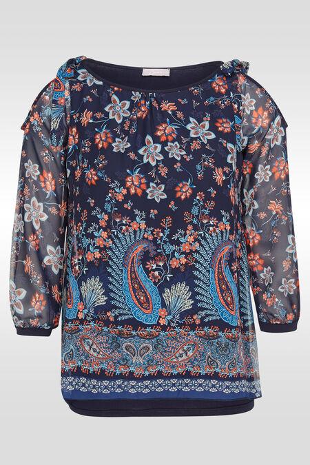 Tuniek in voile met bloemetjes- en kasjmierprint - Marineblauw