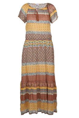 Lange jurk met etnische print, Mosterdgeel