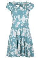Bedrukte jurk met gomeffect, Appelblauwzeegroen