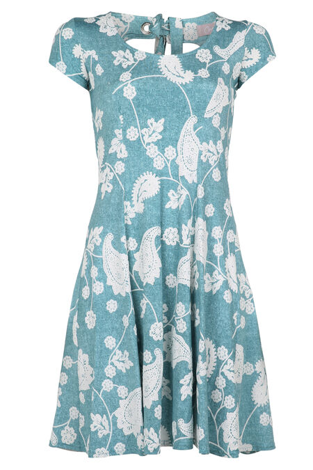 Bedrukte jurk met gomeffect - Appelblauwzeegroen