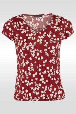 T-shirt met V-hals en elastische boord,  | Cassis