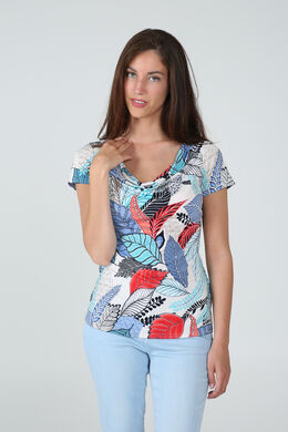 T-shirt imprimé fleuri, Bleu
