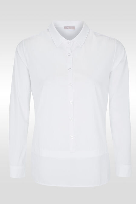 Hemd in een mix van materialen - Wit