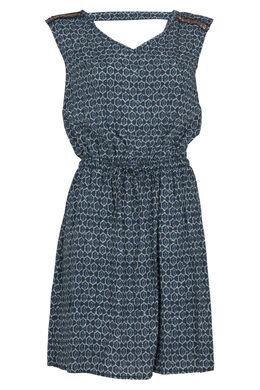 Bedrukte jurk in viscose, Turquoise