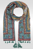 Foulard imprimé à pompons, multicolor