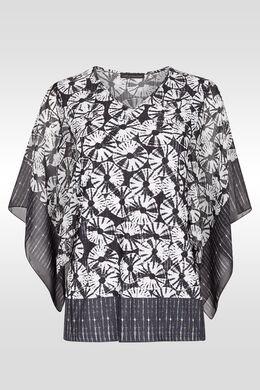 T-shirt in materiaalmix, met capemouwen,  | Cassis