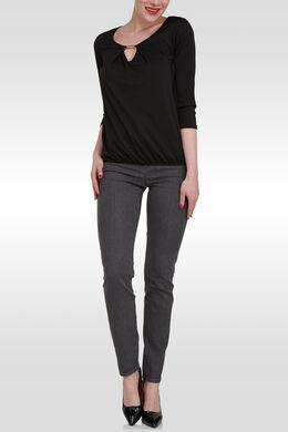 T-shirt 3/4-mouwen, druppelhals, juweel, Zwart