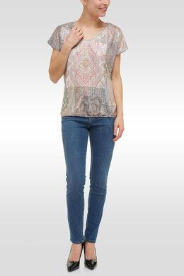T-shirt imprimé patchwork et strass, Kaki