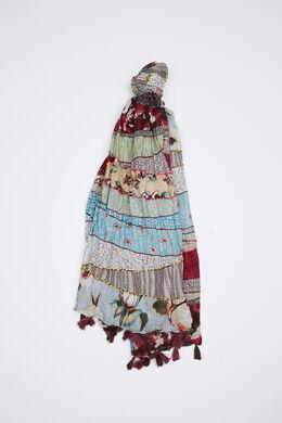 Foulard printpatches katoen, Multicolor
