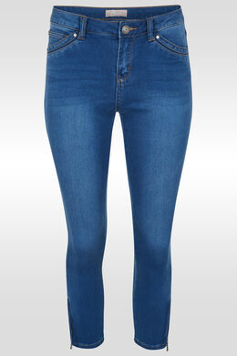 Slim 7/8-jeans met rits, Denim
