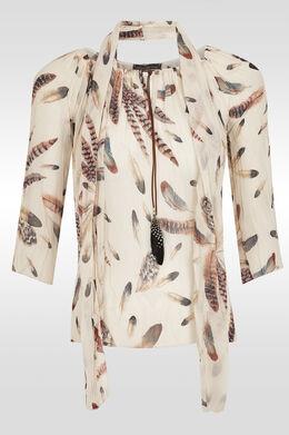 Soepel vallende tuniek met pluimpjes,  | Cassis