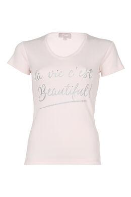 T-shirt 'La vie est Beautiful', huidskleur