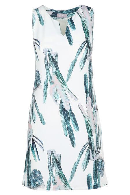 Rechte jurk met pluimenprint - Ecru