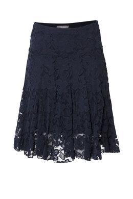 Soepele rok in bloemenkant, Marineblauw