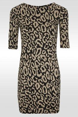 Robe imprimé léopard ton sur ton, Noir/Taupe