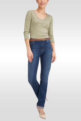Rechte jeans met riem, Denim