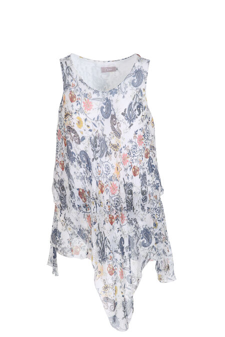 Top in voile met kasjmierprint - Ecru
