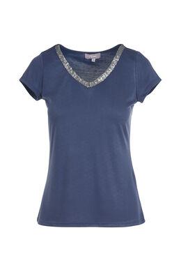 Effen T-shirt met V-hals en lovertjes, Leisteen