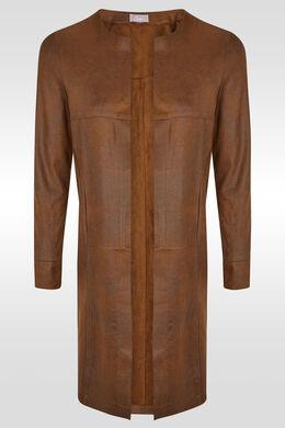 Lange jas in verouderd imitatieleder, Cognac