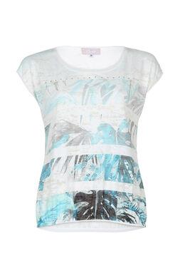 T-shirt met print en strassteentjes, Turquoise