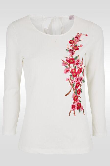 Sweatshirt met geborduurde bloemen - Ecru