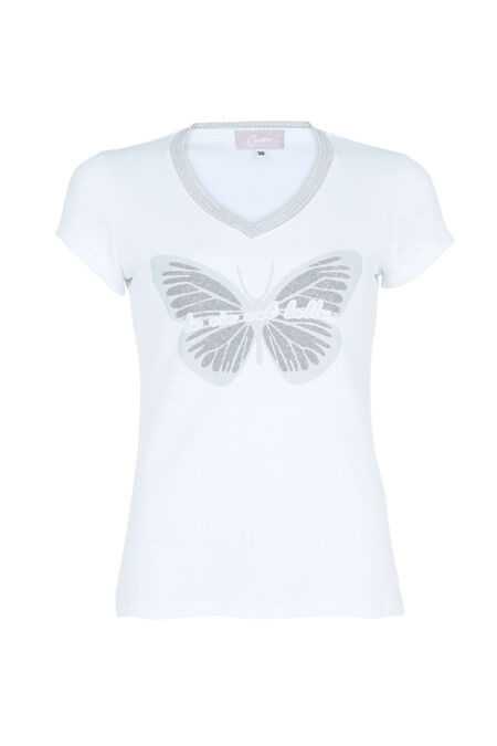 T-shirt 'La vie est belle' - Ecru