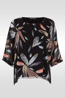 Ruime bloes met pluimenprint,  | Cassis