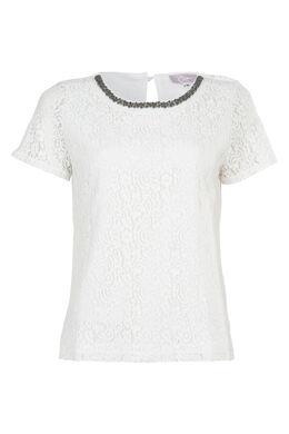 T-shirt in kant met halssnoer, Ecru