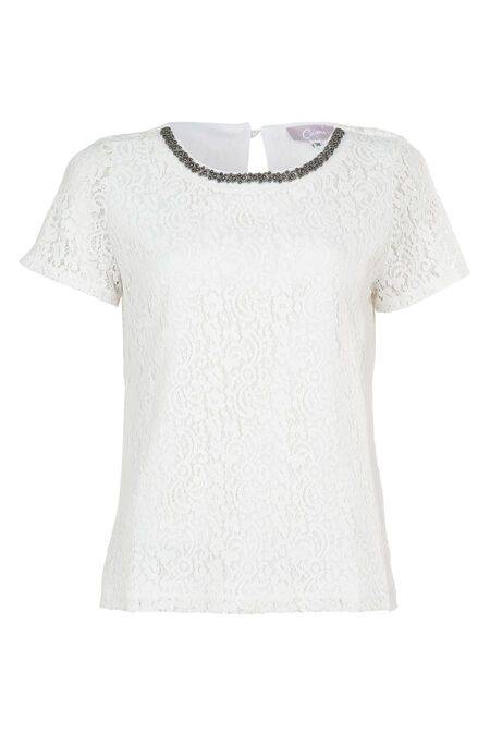 T-shirt en dentelle avec collier - Ecru