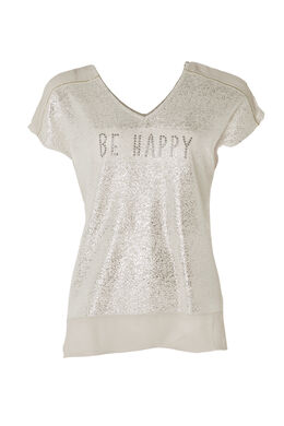 "T-shirt ""Be Happy"", Grege"