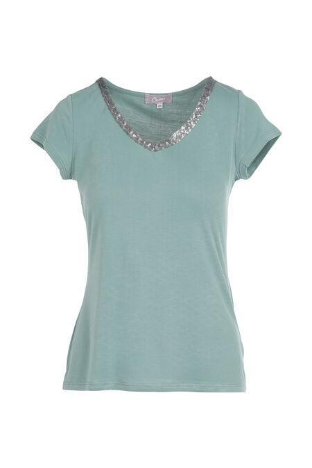 Effen T-shirt met V-hals en lovertjes - Appelblauwzeegroen