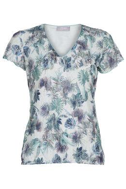 T-shirt en dentelle et sequins, Turquoise