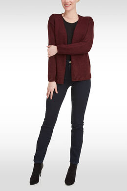 Losse cardigan, lurextricot, Wijnrood