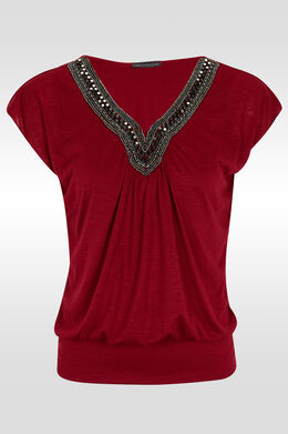 T-shirt manches T, plastron perles, Framboise