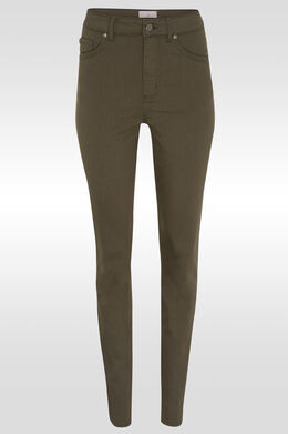 Pantalon push up taille haute slim, Kaki