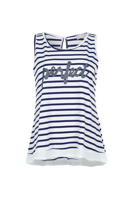 Top 'Perfect', Blauw/Ecru