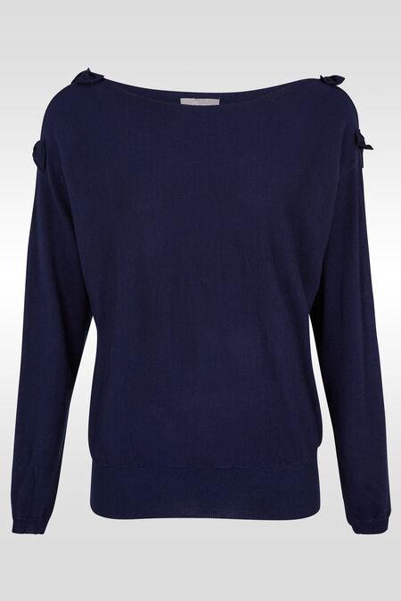 Trui met blote schouders en strikjes - Marineblauw