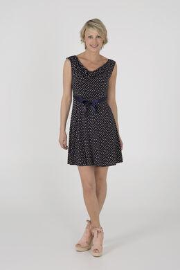 Bedrukte jurk met watervalkraag, Marineblauw