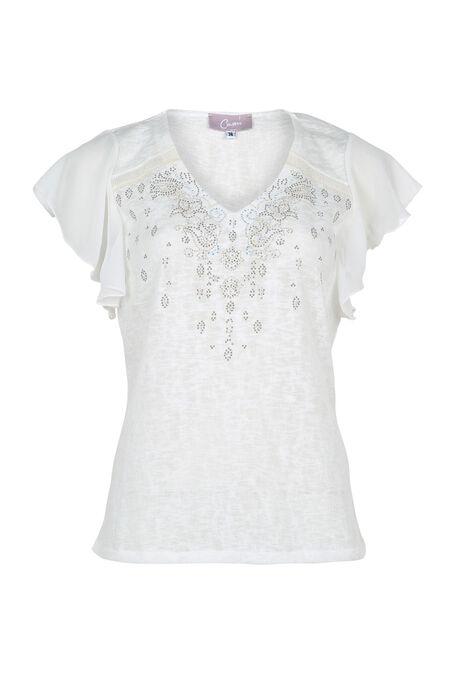 T-shirt dessin de strass et de clous - Ecru