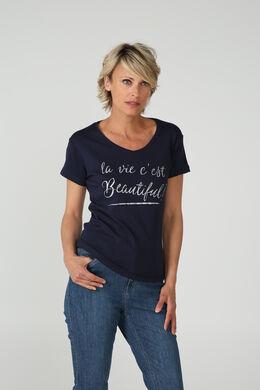 T-shirt 'La vie est Beautiful', Marineblauw